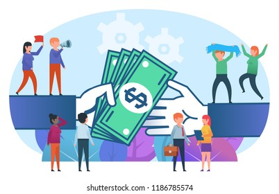 Small cute people stand on big hands giving and taking money. Big deal, contract concept. Business poster for presentation, social media, banner, web page. Flat design vector illustration