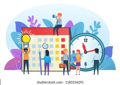 Small cute people standing near big calendar and clock. Successful office time management, team. Business poster for presentation, social media, banner, web page. Flat design vector illustration