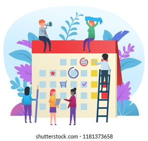 Small cute people working and showing various actions near big calendar. Time management concept. Business poster for presentation, social media, banner, web page. Flat design vector illustration