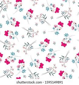 small cute pink flower seamless pattern
