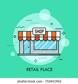 Small cute shop with awning, signboard, glass windows and entrance door. Concept of retail place, convenience store, shopping center. Vector illustration for banner, website, advertisement, poster.