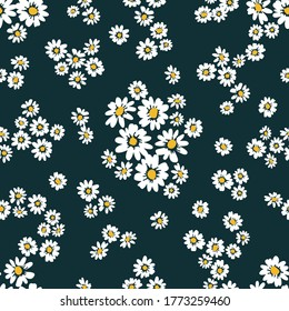 Small daisies on black background. Seamless pattern with cute flowers. Vintage textile collection. Template for dresses, scarves, wallpappers.