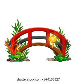 Small decorative the bridge with a lantern in the oriental style in landscape design isolated on a white background. Cartoon vector close-up illustration.