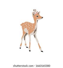 Pintura vectorial, diseño de ilustración de dibujos animados de pequeños ciervos.Animales curtidos con flores rosas en los cuernos