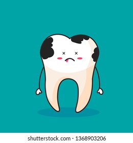 Small dentists people cleaning, treating big unhealthy tooth plaque and caries hole. Dentist doctors brushing, scaling, drilling plaque and caries tooth. Flat vector illustration