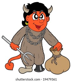 Small devil with sack - vector illustration.