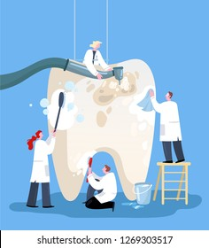 Small doctors who treat giant teeth. Vector illustration flat design. Use in Web Project and Applications.