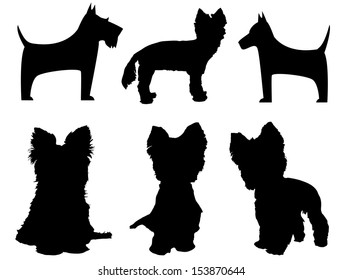 Small dog silhouettes  (Yorkshire Terrier and Schnauzer)