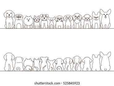 small dogs border set, front view and rear view, line art