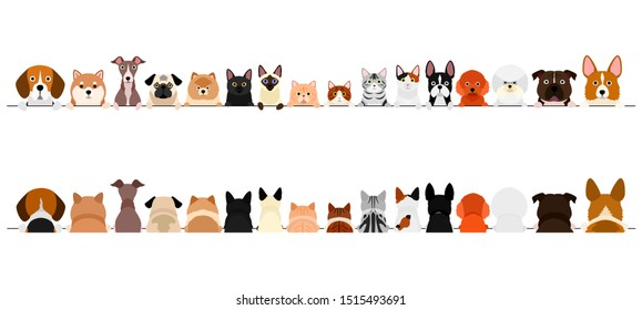 small dogs and cats border set, upper body, front and back