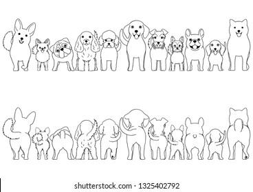 small dogs line art border set