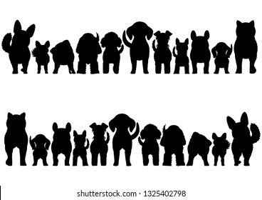 small dogs silhouette border set