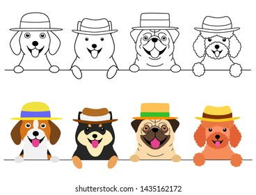 small dogs with straw hat in a row