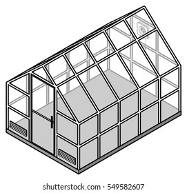 A small domestic greenhouse / hot house / glass house with ventilation grills and an extractor fan. Drawn in a simple line style.