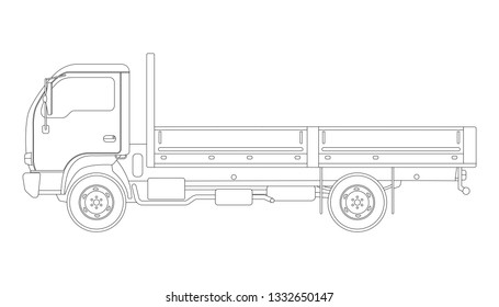 small dump truck,  vector illustration, lining draw, profile side