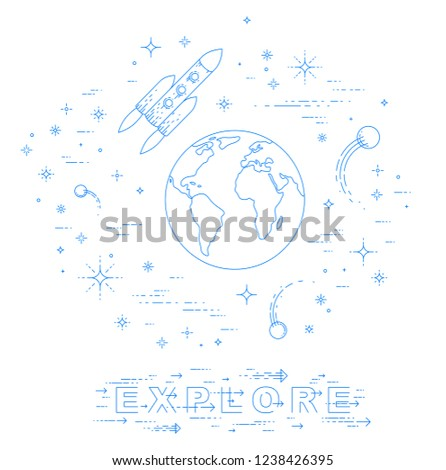 small earth endless space surrounded by stock vector (royalty free Ear Anatomy Diagram small earth in endless space surrounded by asteroids, rockets, meteors, stars and other