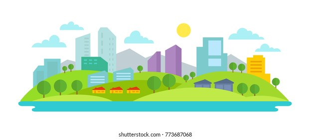 Small eco-friendly city in the background of nature landscape Trees buildings water and mountains