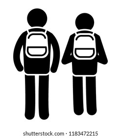 Small and elder human avatars wearing bags walkin back to home notioning