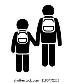 Small and elder siblings wearing bags walkin back to home