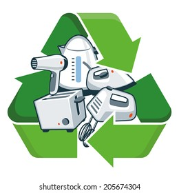 Small electronic home appliances with recycling symbol. Isolated vector illustration. Waste Electrical and Electronic Equipment - WEEE concept.