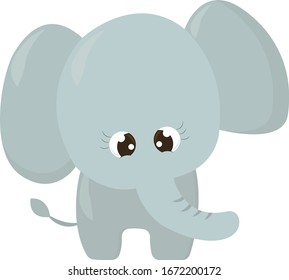 Small elephant, illustration, vector on white background.