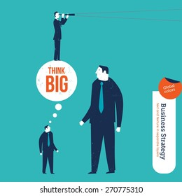 Small entrepreneur conquering a giant with big ideas. Vector illustration Eps10 file. Global colors. Text and Texture in separate layers.