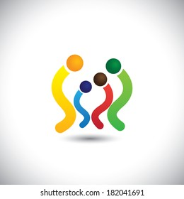 small family of father, mother & children together vector icons. This graphic also represents relationship, together, caring, love & support, generations, etc