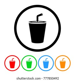 Small Fast Food Soda Cup Icon in Four Color Variations Vector