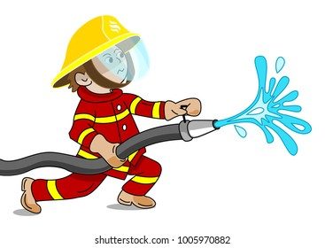 A small fireman holding a fire hose from which water flows - cartoon vector graphic