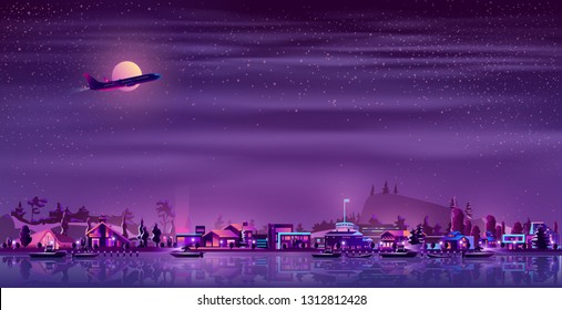 Small fishing town or village on northern coast neon colors cartoon vector. Passenger airliner flying at night over illuminated cottage houses on river or sea shore, boats sailing in bay illustration