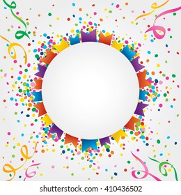 Small flags of June party around a circle with space to put text in the middle. Confetti coming out from behind the circle and streamers adorning the corners of an image.