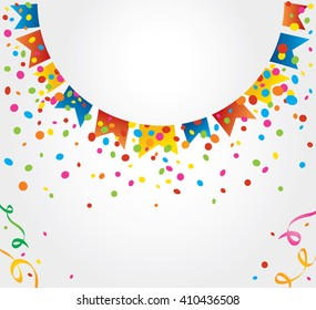 Small flags of June party forming a half circle with confetti coming out from behind this circle. Space for placing text on top and bottom of the image.  Background for birthday cards and parties
