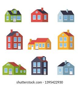 Small flat design houses vector symbol  set illustration