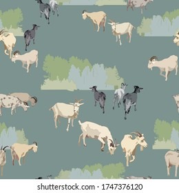 Small flock of goats on a gray-blue background. Textile composition, template for the design of print, advertising, fabric, wallpaper and boxes.