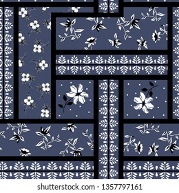 small floral flowers pattern on bandanna background