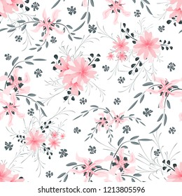 Small Floral Seamless Pattern with Cute Daisy Flowers and Pansies. Girlie Texture in Rustic Style for Curtains, Calico, Textile. Vector Spring Rapport.