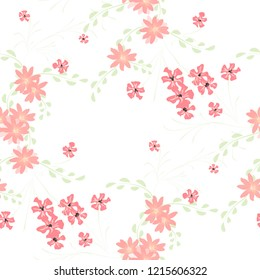 Small Floral Seamless Pattern with Cute Daisy Flowers and Pansies. Pretty Texture in Rustic Style for Linen, Calico, Chintz. Vector Spring Rapport.