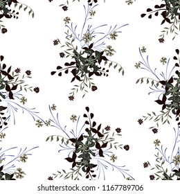 Small Floral Seamless Pattern with Gentle Wildflowers. Girlie Natural Background in Rustic Style with Small Blossoms of Daisy Flowers. Vector Ditsy Pattern for Fabric, Textile. Floral Texture