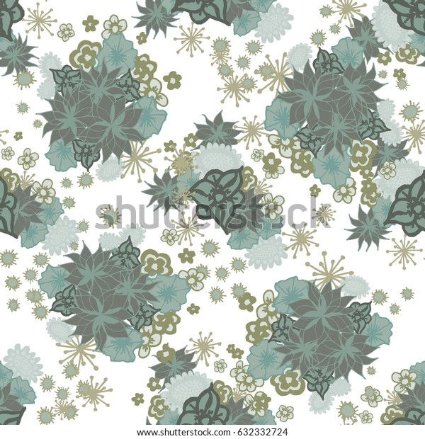 Small Floral Seamless. Pattern of Little Flowers on White Background. Feminine Blossoms in Desaturated Retro Colors. Seamless Texture for Calico, Textile, Fabric, Linen. Gentle Pattern for Dress