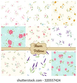 Small flower patterns set. Vintage floral seamless background. Suitable for miniatures.