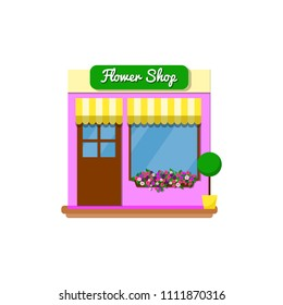 Small flower shop store in flat style isolated on white background. Exterior facade of the building.