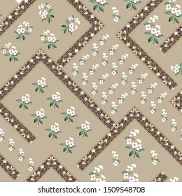 small flowers with bandanna pattern on grey background