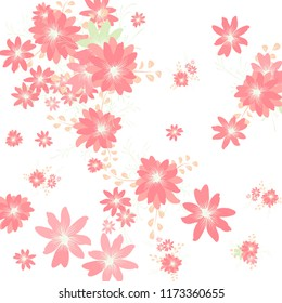 Small Flowers. Cute Tiny Daisies on White Background. Vector Texture for Banner, Cover, Poster. Trendy Natural Ground in Vintage Style.