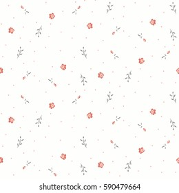 small flowers and leaves.  Delicate floral background. Pink graphic print
