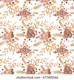 Small Flowers on White Background. Light Retro Pattern. Seamless Calico Print. Faded Flowers in Vintage Style. Liberty Rustic Pattern for Chintz, Textile, Feminine Fabric, Wallpaper
