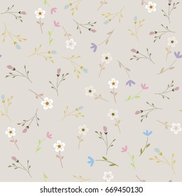 Small flowers pattern. Seamless floral background for wrapping, textile, wallpaper. Soft tile. Vector flourish texture. Cotton design.