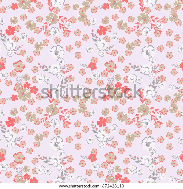 Small Flowers Pattern Seamless Floral Background Stock Vector