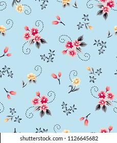 Small flowers pattern with sprial leaves on light blue background for textile pattern,fashion print