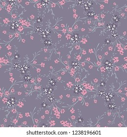Small Flowers. Seamless Pattern with Cute Daisy Flowers and Pansies. Girlie Texture in Rustic Style for Curtains, Calico, Textile. Vector Spring Rapport.