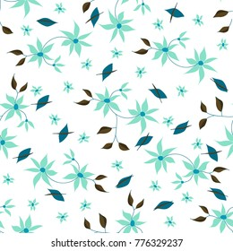 Small Flowers. Seamless Pattern in Liberty Style. Cute Floral Background for Textile, Fabric, Print. Feminine Natural Pattern with Small Floral Motives.
